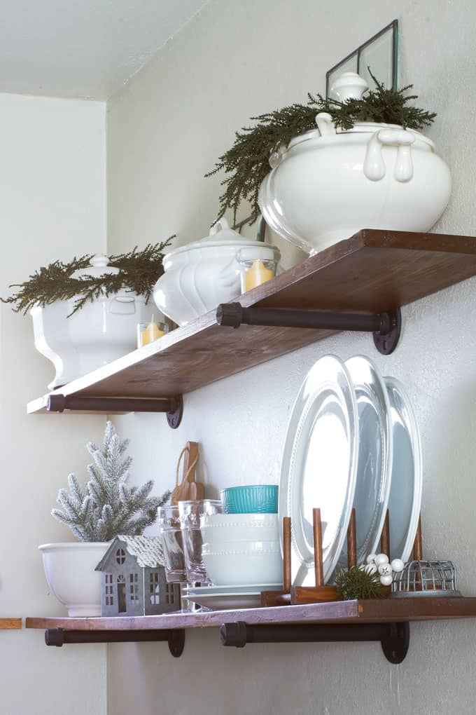 open shelving with neutral color decor and dishes