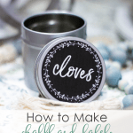 make chalkboard labels using computer spice tin with the word cloves