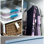 maximize your tiny closet blue organizing box and photos of closet items