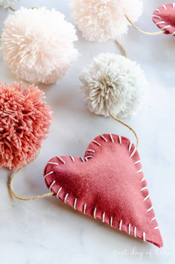 felt heart and pom-pom garland