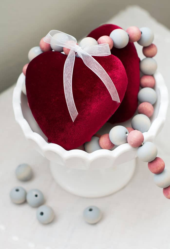valentines day decor and crafts celebration velvet covered heart with wood beads in white bowl