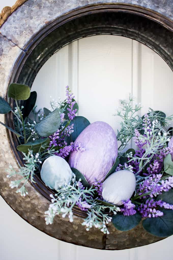 spring tire wreath with velvet easter eggs