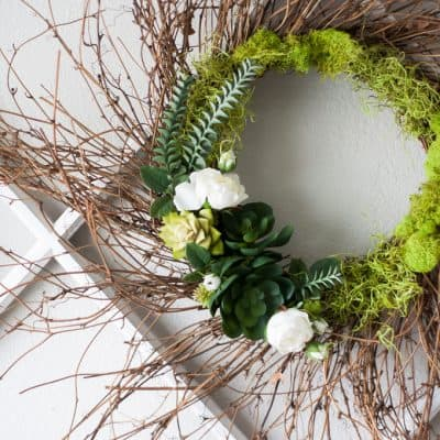 DIY 10-minute spring succulent wreath closeup on window pane