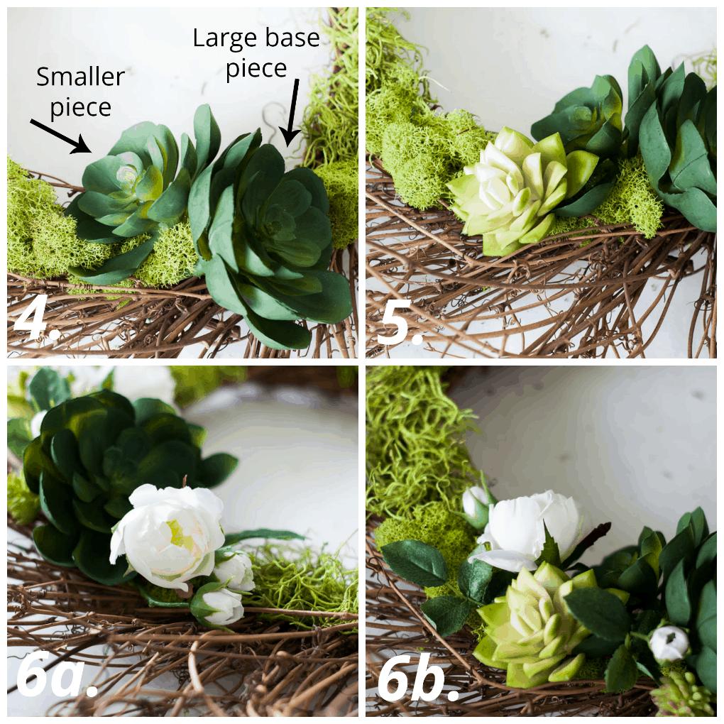 DIY 10-minute spring succulent wreath tutorial steps