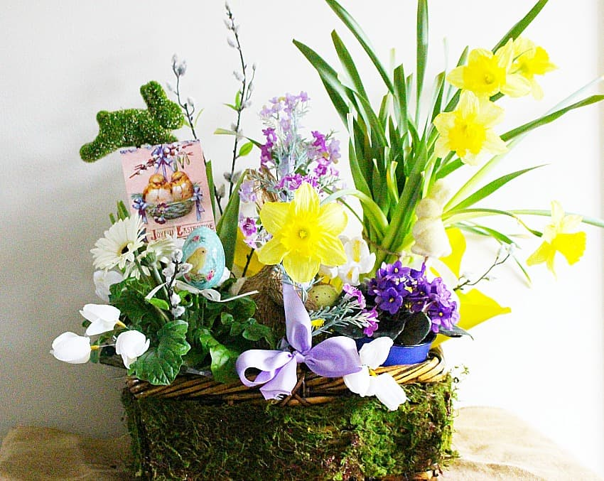spring arrangement with lots of color and elements