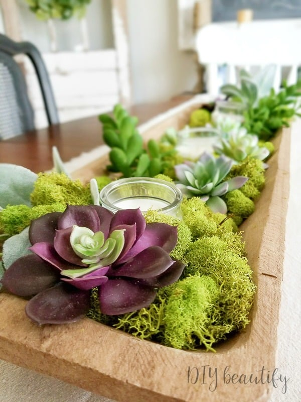 easy and lovely spring centerpieces dough bowl with succulents and moss