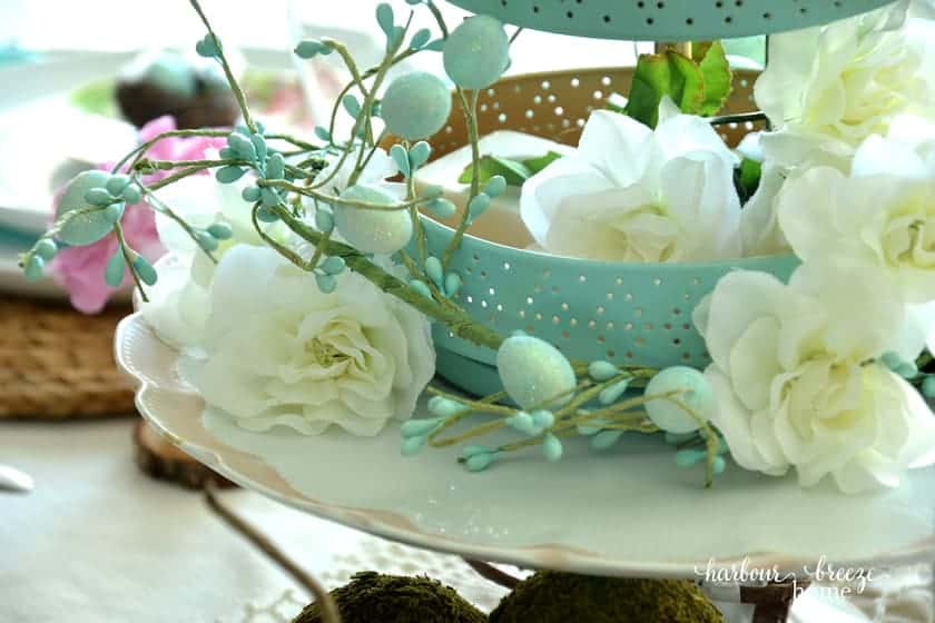 white florals with aqua bowl and tiered tray