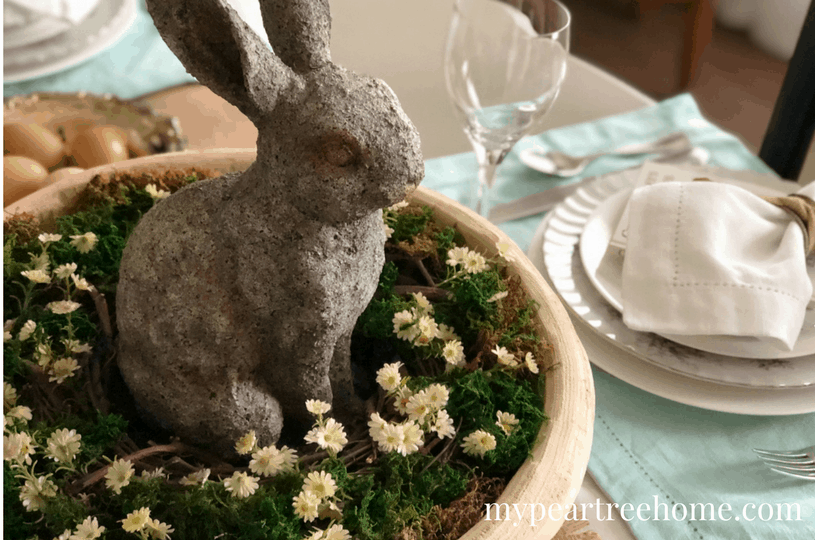 easy and lovely spring centerpieces bunny in bowl on table