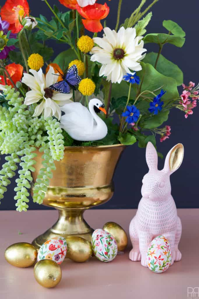 easy and lovely spring centerpieces gold bowl with florals swan and bunny on table