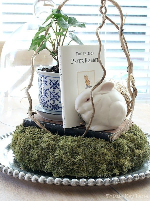 cloche with bunny book and moss