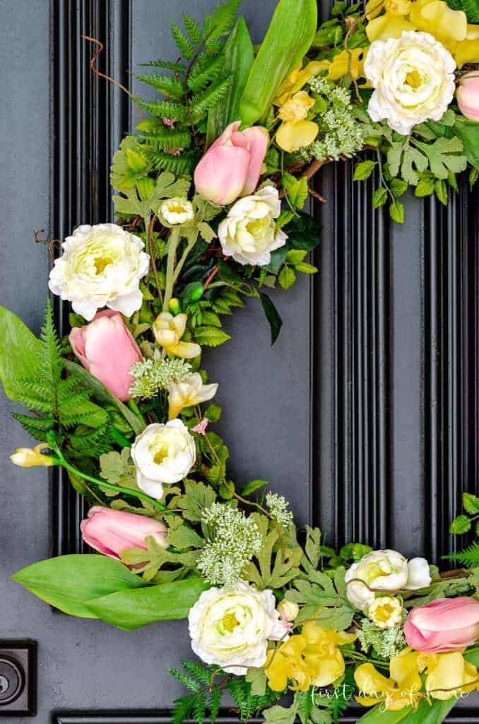 stay home spring wreaths floral wreath on black door