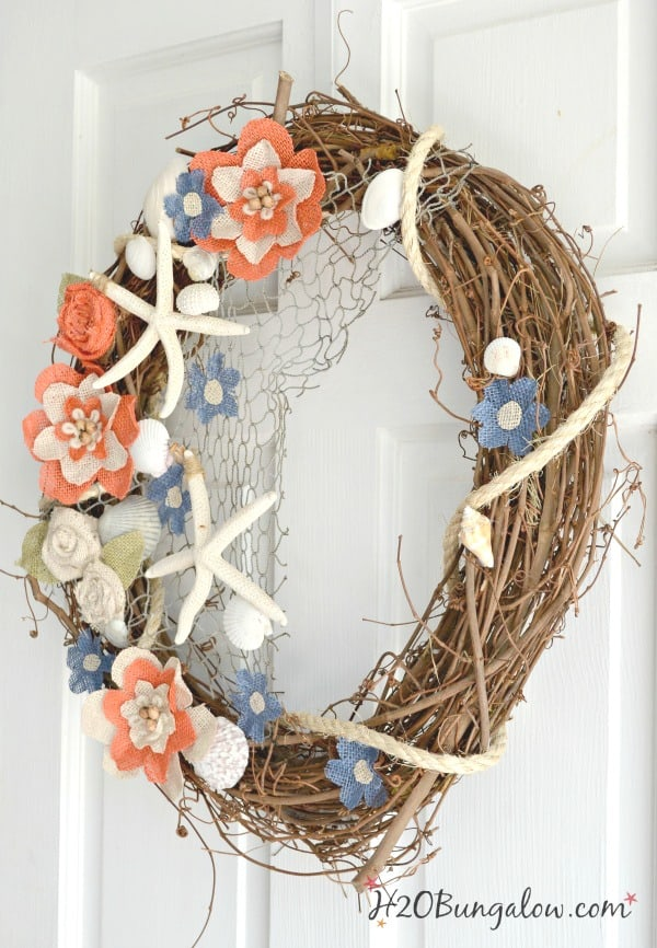 nautical grapevine wreath with starfish and burlap