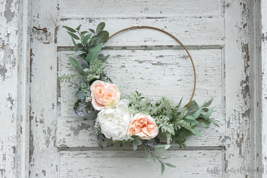 stay home spring wreaths hoop wreath with florals and greenery
