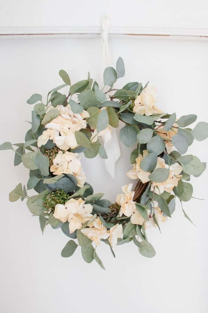 stay home spring wreaths eucalyptus and hydrangea wreath