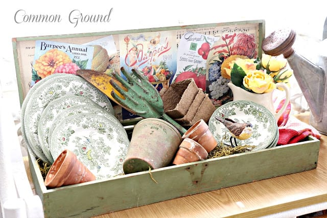 seed box with green transferware
