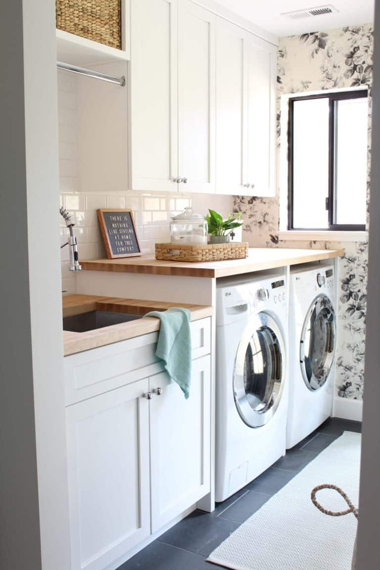tuesday turn about farmhouse touches laundry room with modern farmhouse style
