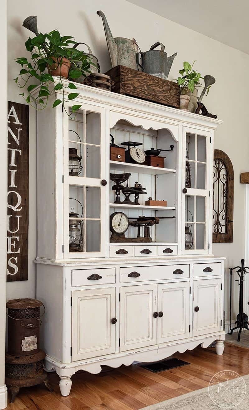 tuesday turn about farmhouse touches white hutch with farmhouse decor