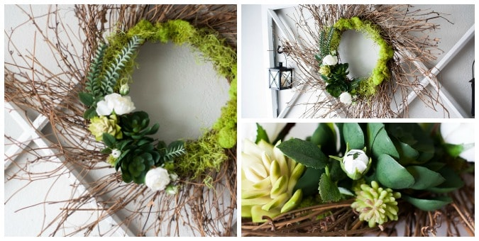 tuesday turn about 41 spring diys succulent wreath with grapevine base