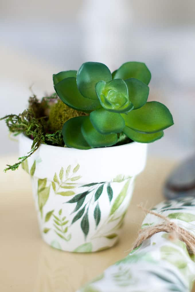 easter mod podge pot placecard holder with succulent