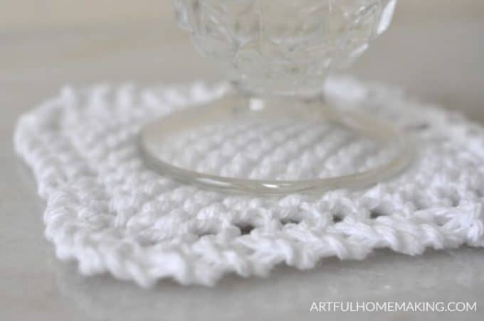 white knitted coaster with glass