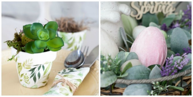 tuesday turn about 43 spring picks mini clay pot with succulent and velvet eggs with faux florals