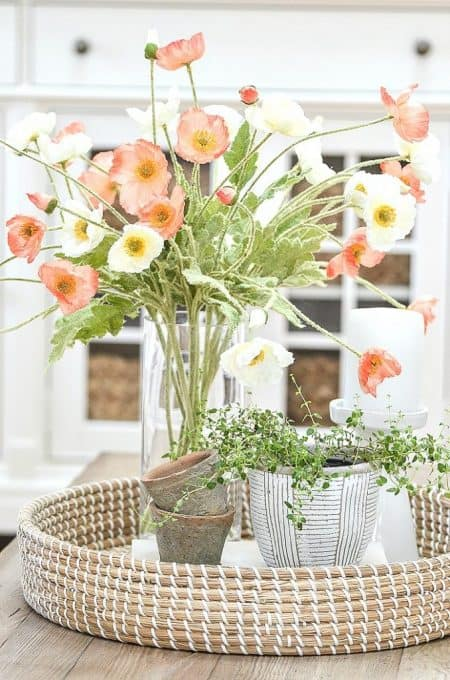 poppy flowers in vase with basket tray and potted plants