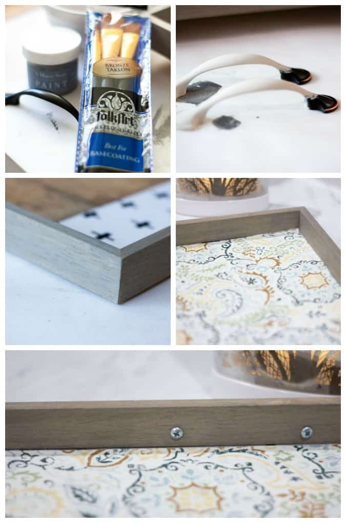 instruction photos of square tray upcycle