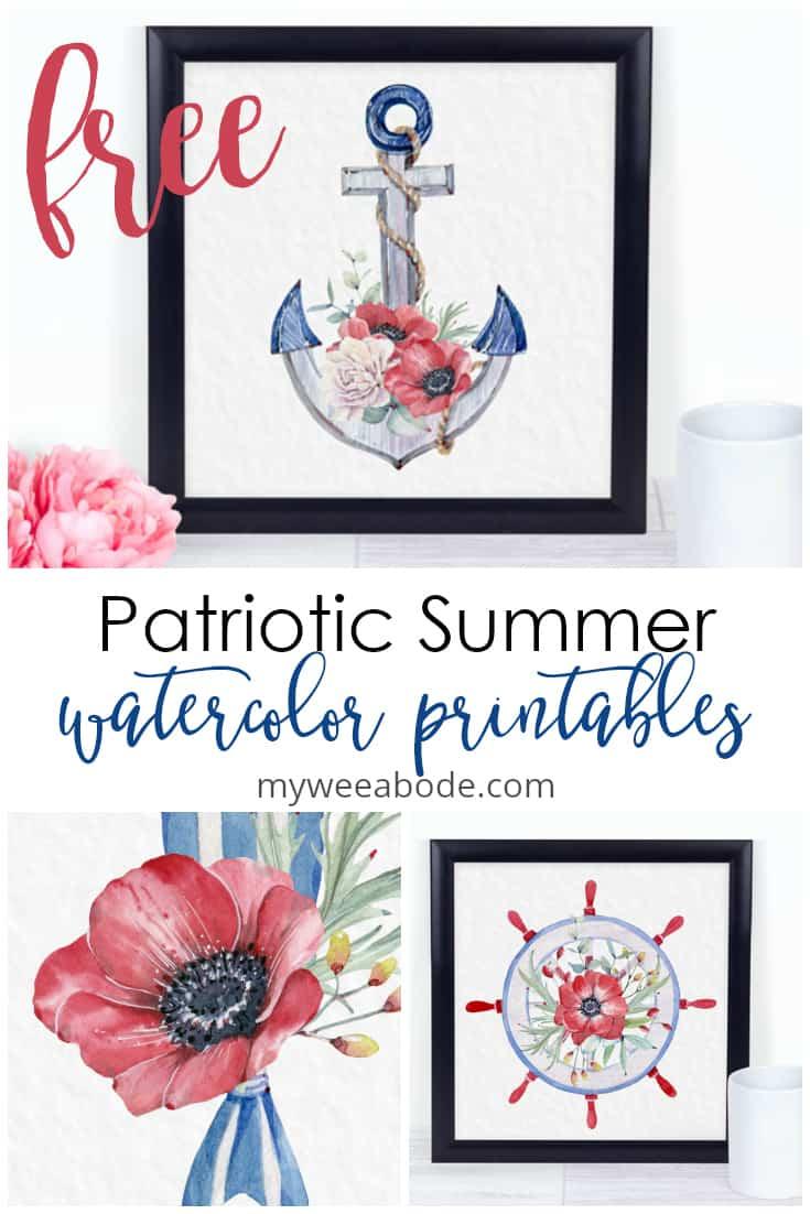 collage of patriotic summer printables in frames
