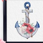 free patriotic printable for summer ships anchor with flowers in a black frame