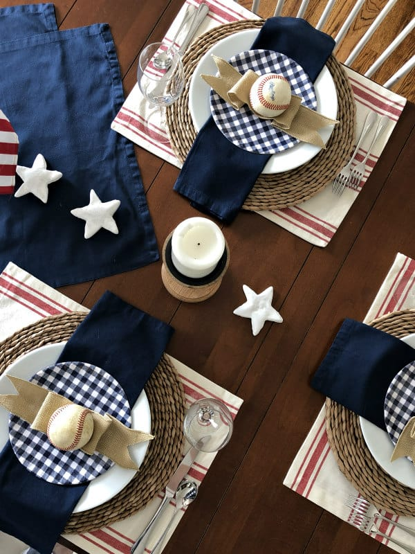 baseball game tablescape in red white blue with vintage baseballs