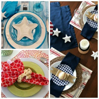tablesetting for summer with baseballs starfish and summer colors