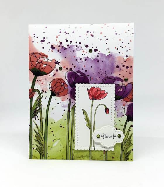 water color poppy card with white elements