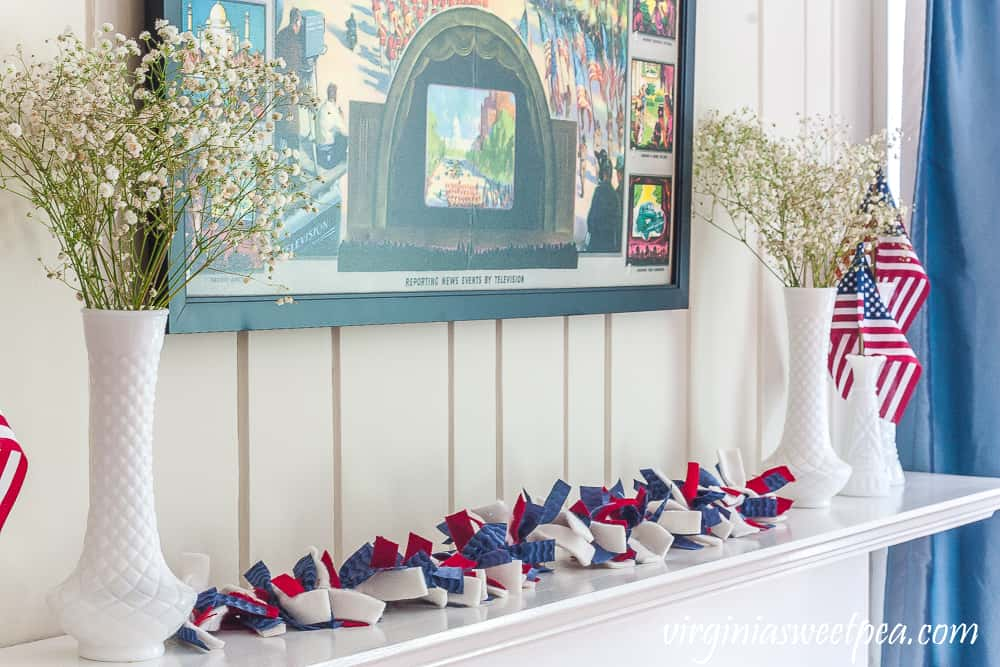 patriotic mantle with red white and blue elements