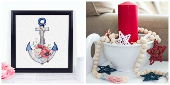 tuesday turn about patriotic inspiration anchor printable in black frame red candle in bowl with beads on white surface