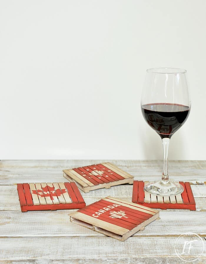 canadian coasters in red and tan with wine glass