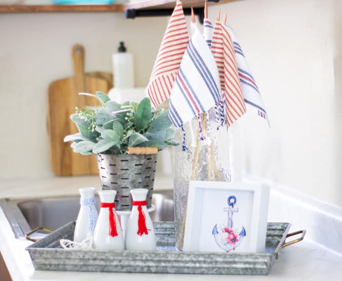 understated patriotic vignette with muted tones of red white and blue decor