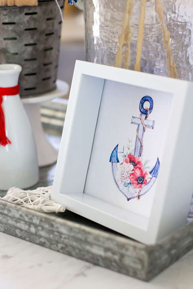 anchor print in white frame with galvanized tray