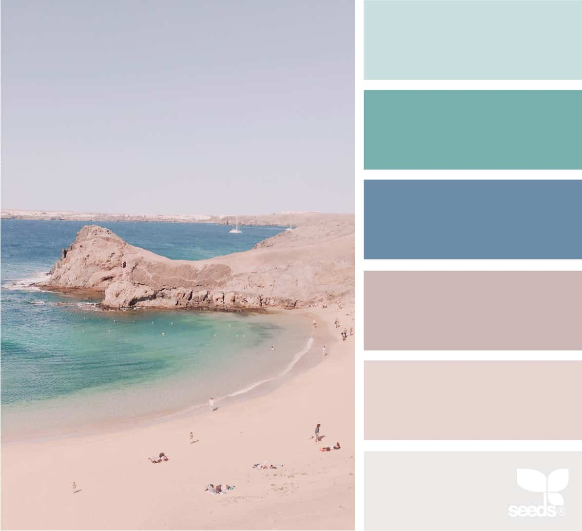 ocean view with peninsula and color palette