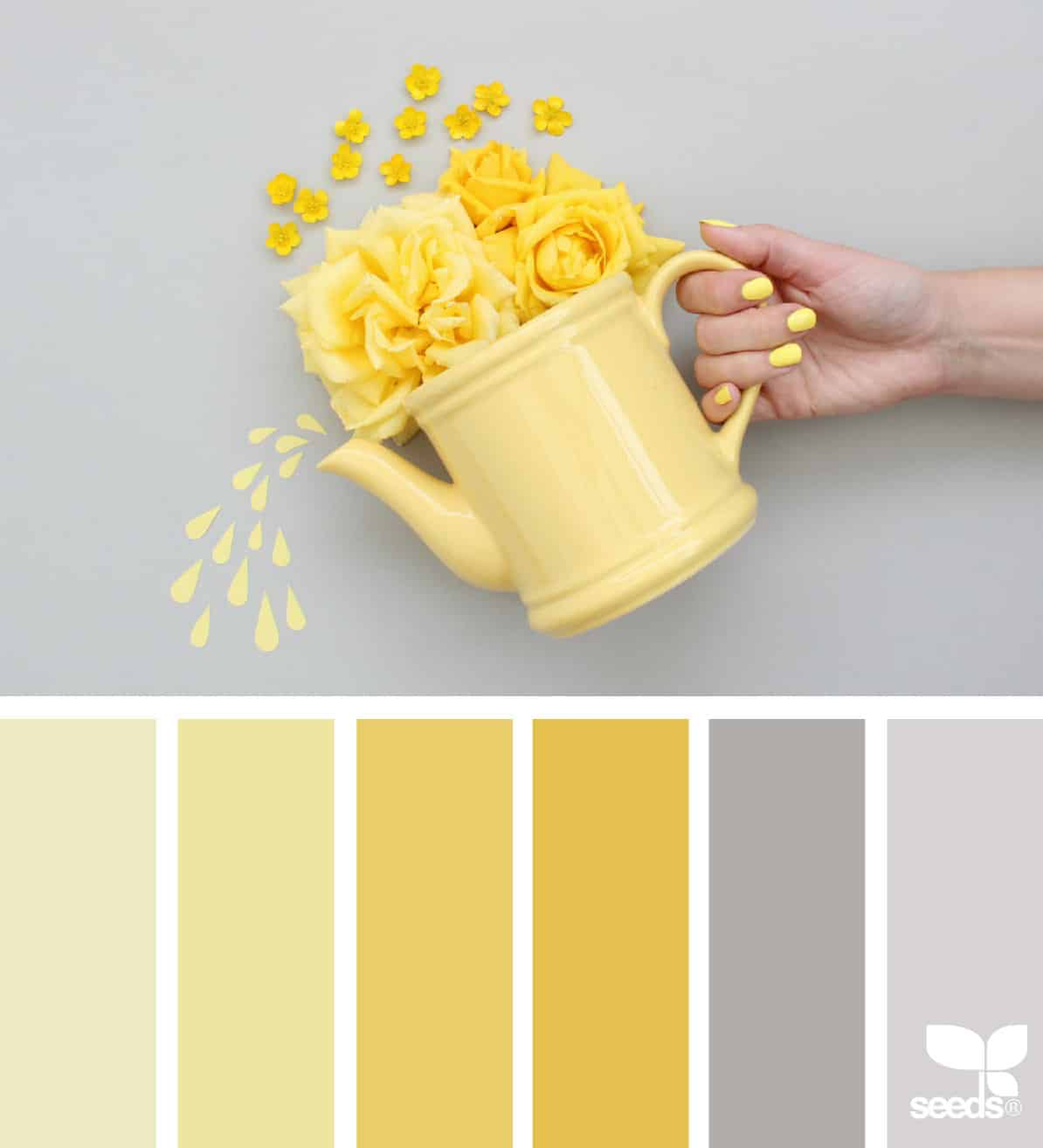 yellow watering can with yellow flowers being poured out by a hand