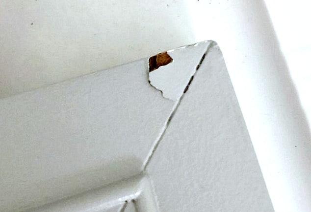 diy cabinet door repair chipped corner of door