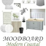 moodboard with modern coastal bathroom decor ideas and renovation design