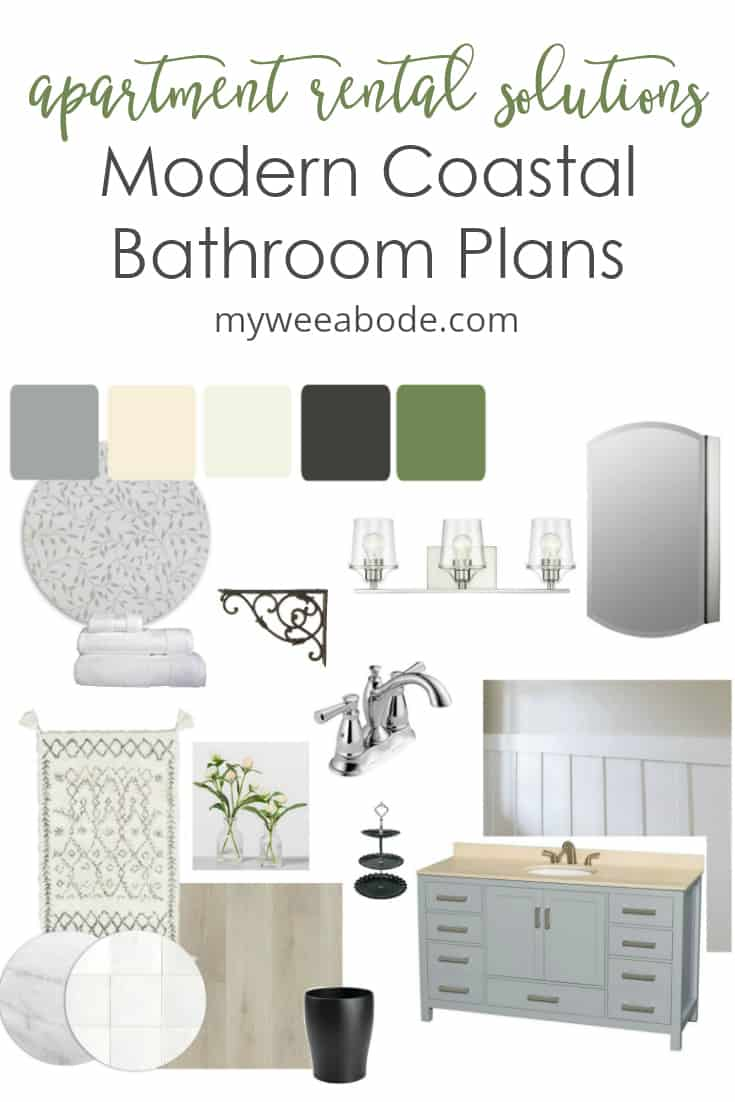 modern coastal bathroom plans for an apartment rental