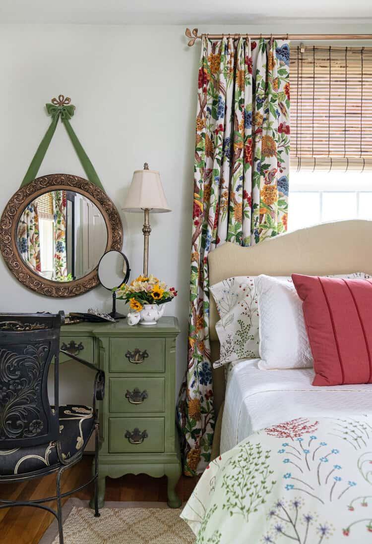bedroom in rich tones