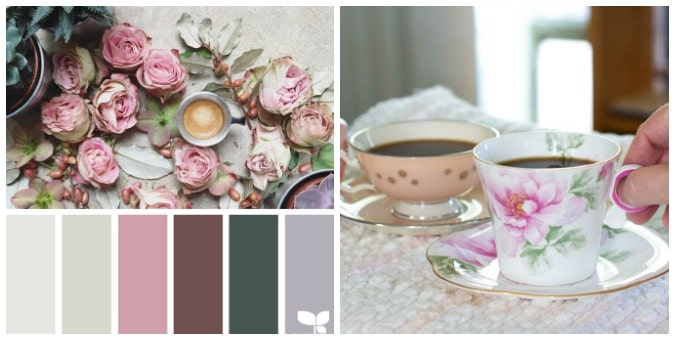 tuesday turn about july inspiration roses with color palette and teacups with coffee