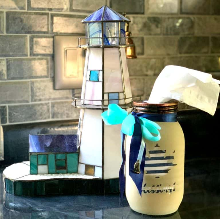 lighthouse on tray with tissue holder mason jar in coastal colors