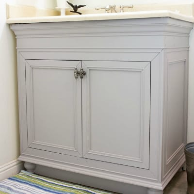 DIY Perfectly Painted Bathroom Cabinets in a Day