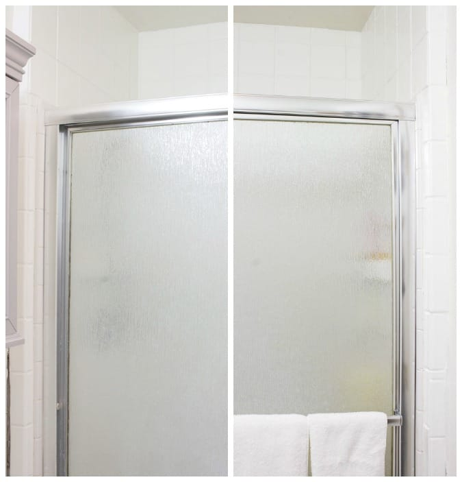 bathroom tile shower surround painted white with shower doors