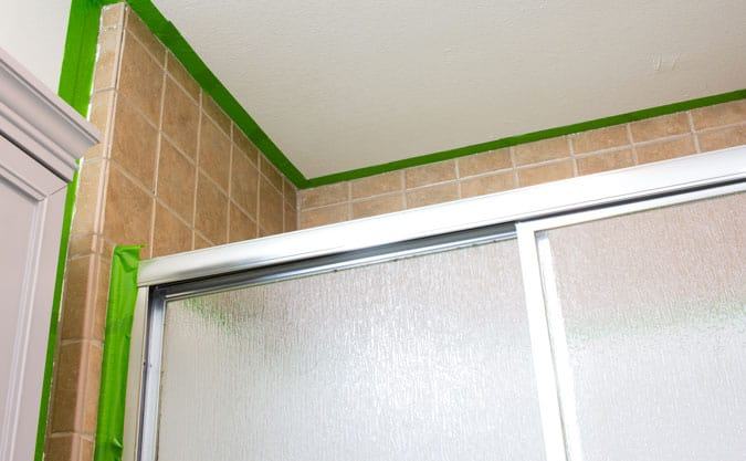 paint a shower tile surround images of ugly brown shower tile surround and glass shower doors with frog tape