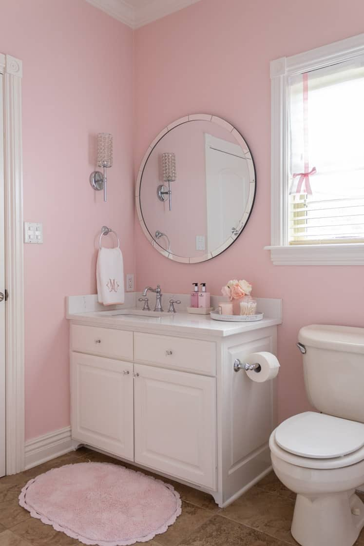 pink and white girls bathroom