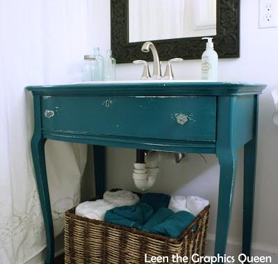 teal vanity in bathroom
